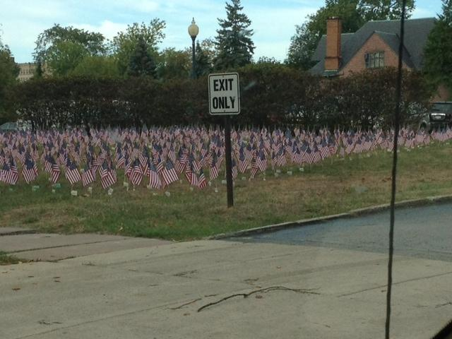 Hundreds of flags line the front lawn of the Red Cross headquarters on Delaware Avenue to honor the nearly 3,000 killed in the attach of 9/11