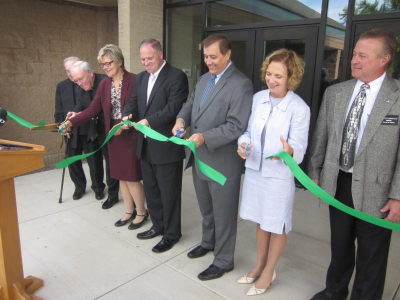 Bishop Malone (second from the left) was among the dignitaries at the ribbon cutting for the new Cantalician Center on George Urban Boulevard