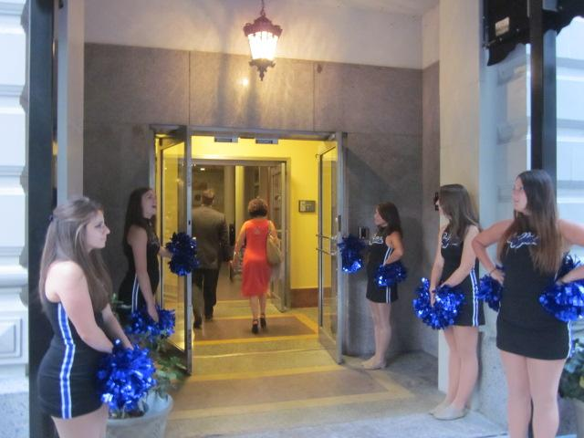UB cheerleaders gather for President Tripathi's event