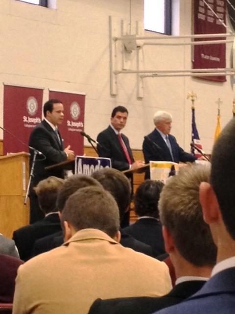 Republican incumbent Mark Grisanti, democratic opponent Mike Amodeo Conservative candidate Chuck Swanick participated in a debate hosted by  St. Joseph's Collegiate Institute in Kenmore