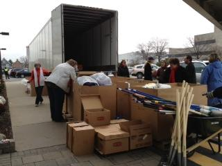 Hurricane relief items loaded onto truck