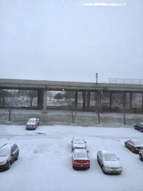 Snow falling in downtown Buffalo