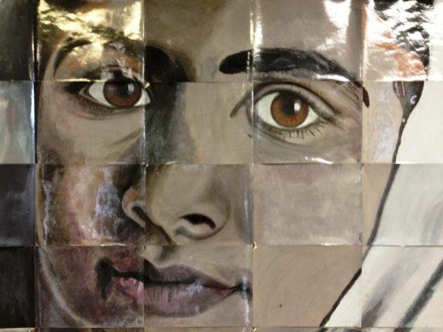 Portrait of Malala Yousufzai painted by Kenmore East High School students