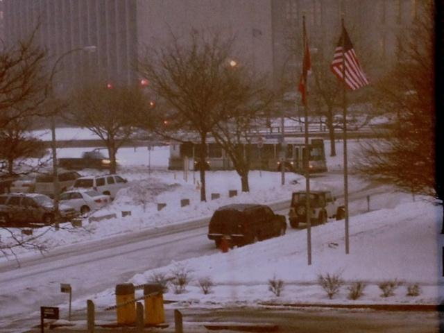 Snow covered streets in downtown Buffalo Thursday afternoon