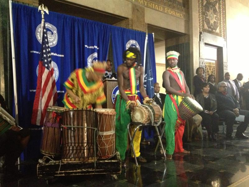 African American Cultural Center provided music & dance in lobby of City Hall