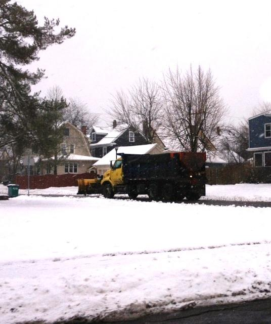 City of Buffalo salt truck treating roads Friday morning