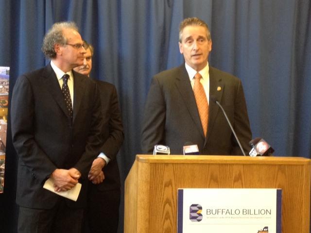 Businessman Howard Zemsky (left) appears with Lt. Governor Robert Duffy