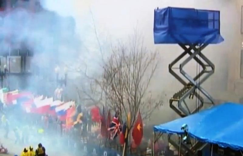 Boston Marathon finish line shortly after explosion