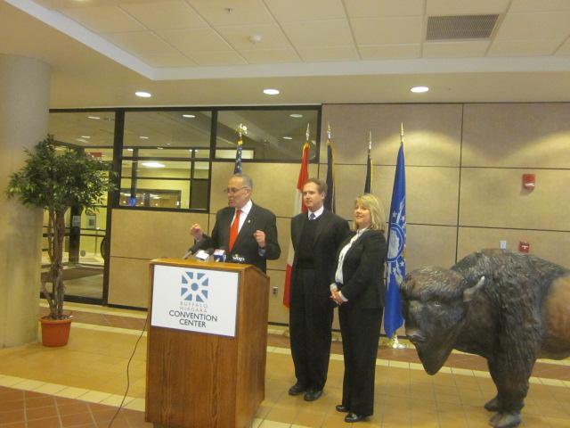 U.S. Senator Charles Schumer appears in Buffalo to announce VA Golden Age games back on