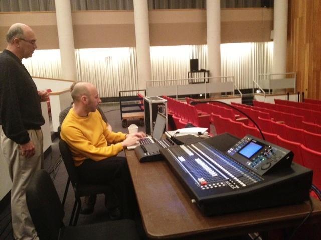 UB professor & composer David Felder (standing) working with Olivee Pasquet, sound artist and composer
