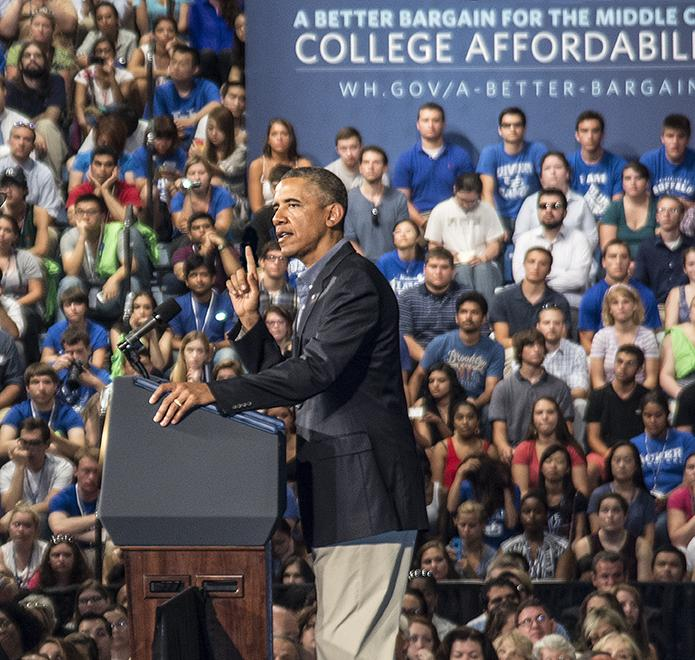Obama spoke in front of a packed audience at UB
