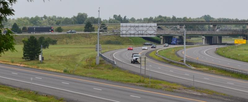 The president's bus, Ground Force One, heads down the Thruway toward Syracuse