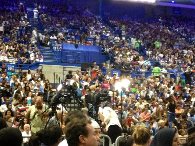 A capacity crowd gathered at UB's Alumni Arena to see the President speak
