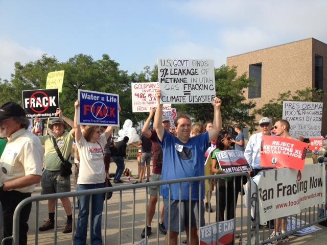 Anti-fracking protesters outside Alumni Arena