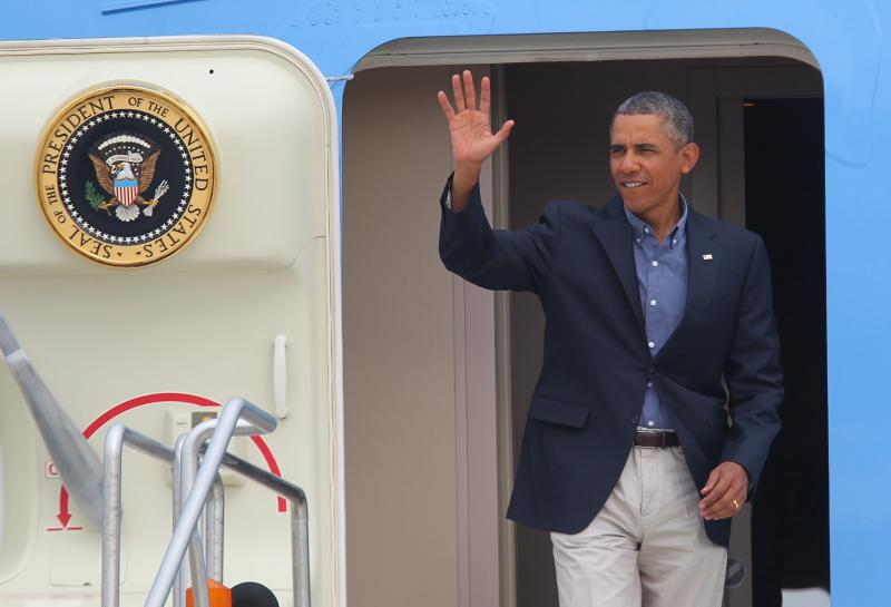 President Obama exited Air Force One around 10:15 a.m. Thursday