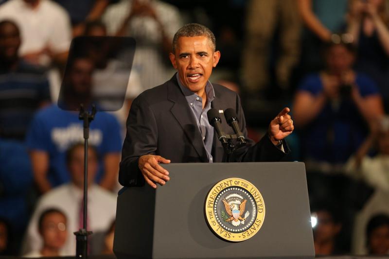 President Obama speaking at UB's Alumni Arena