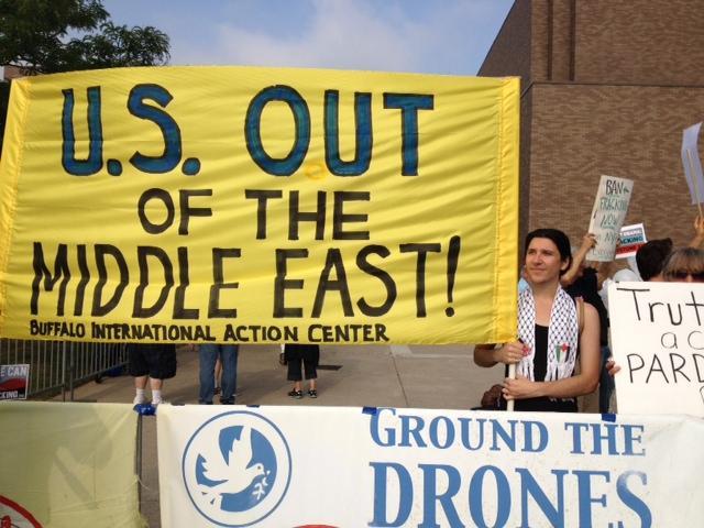 Protesters gathered outside UB's Alumni Arena