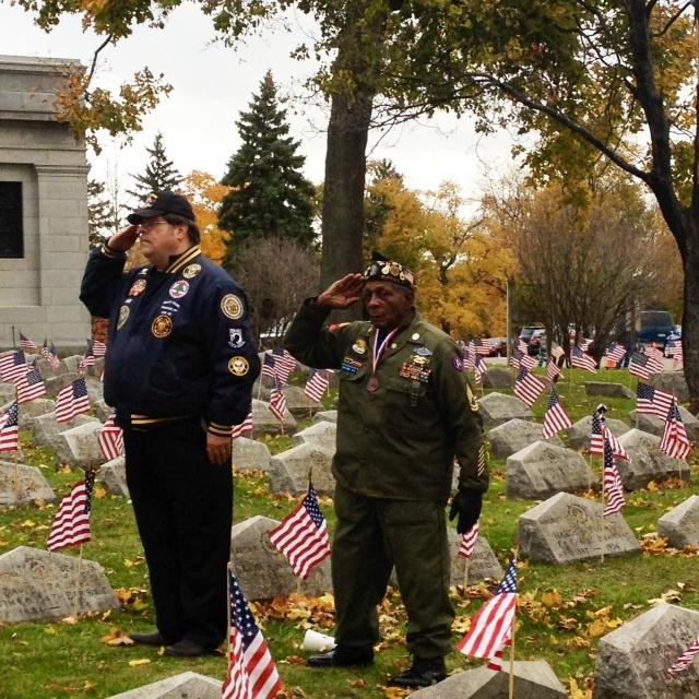 Honoring Veterans during a ceremony at Forest Lawn