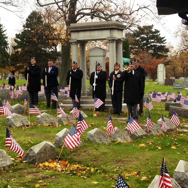 Military salute at Forest Lawn Cemetery