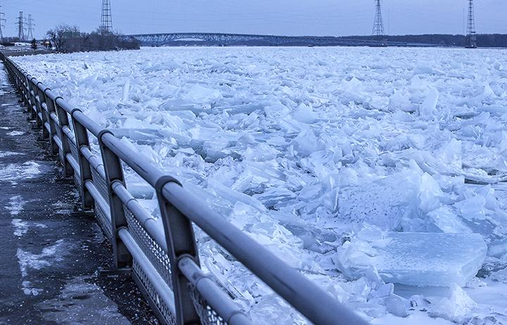 Chunks of ice cover the upper Niagara River.