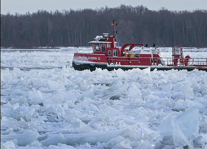 One of two ice breakers work on the Niagara River Thursday.
