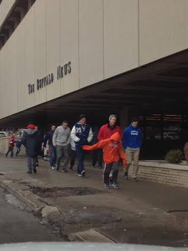 People making their way to First Niagara Center for the NCAA games.