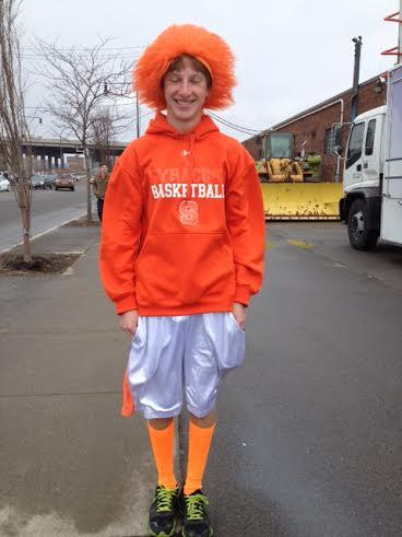 Syracuse fan Alex Kinel decked out in orange.