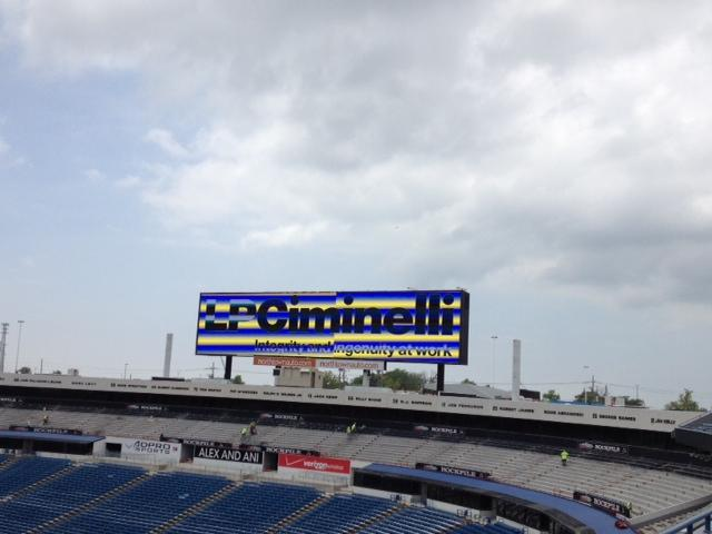 New score board in the west end zone.