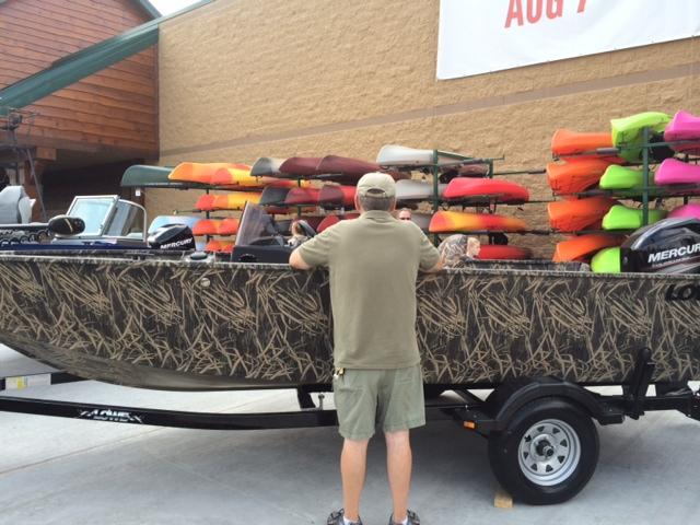 A fishing boat outside of Cabela's.