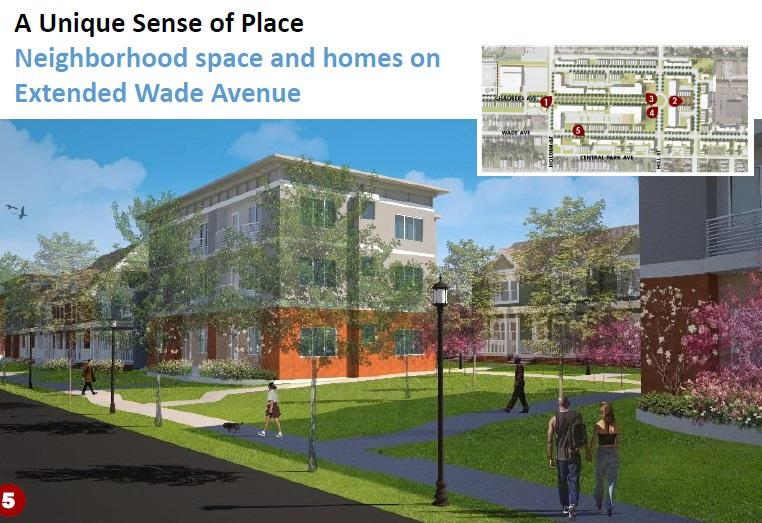 Neighborhood space and homes on Extended Wade Avenue