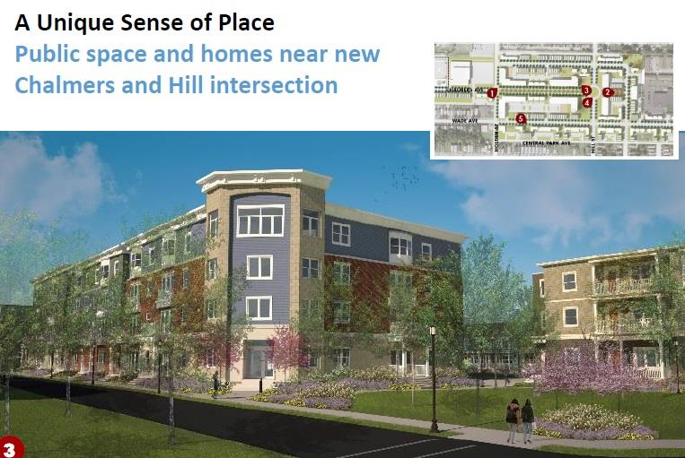 Public space and homes near new Chalmers and Hill intersection