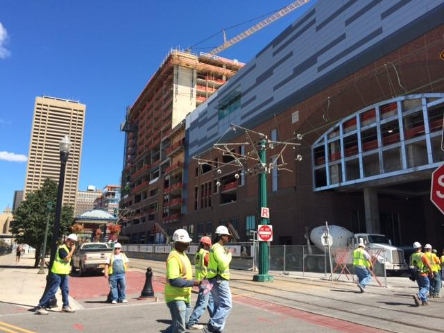 HARBORCENTER construction site located in downtown Buffalo