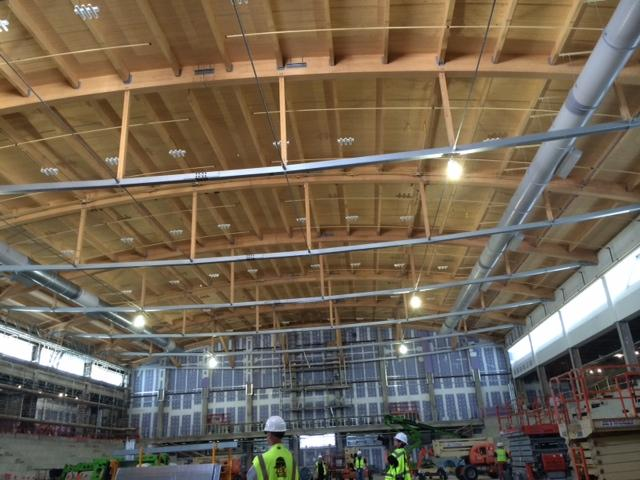 The ceiling above the first ice rink at HARBORCENTER