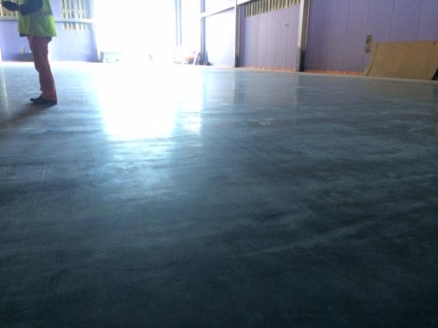 The finished flooring, ready for ice to be laid on the second ice rink.