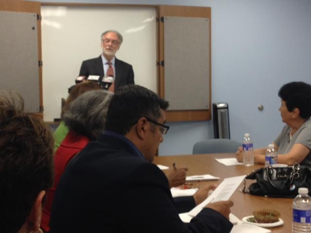 Interim Buffalo Schools Superintendent Don Ogilvie at the Father Belle Center with Hispanic members