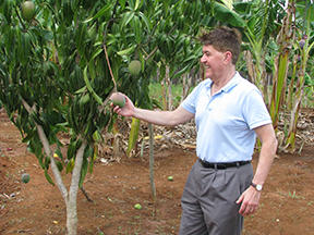 Bishop Franklin examines mangos grown by the Episcopal Church of St. Mary the Virgin in Itabo, Cuba. The church's sustainable food program maintains an eight-acre farm, selling its various crops to the local people at reasonable prices.