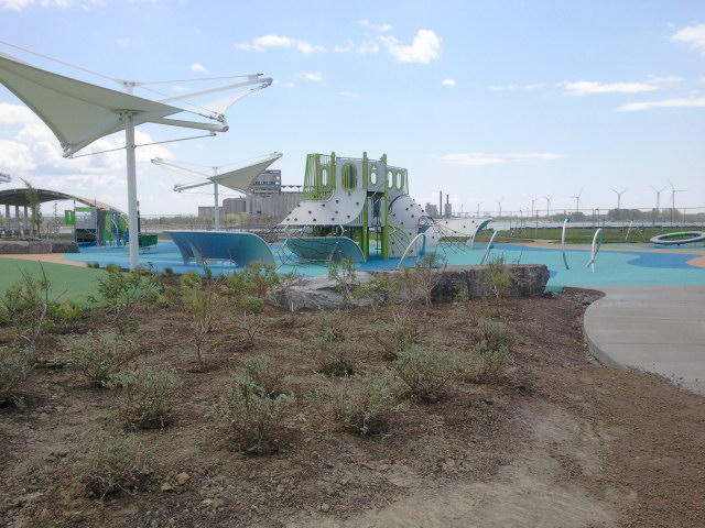 A nautical-themed playground is the centerpiece of Buffalo Harbor State Park