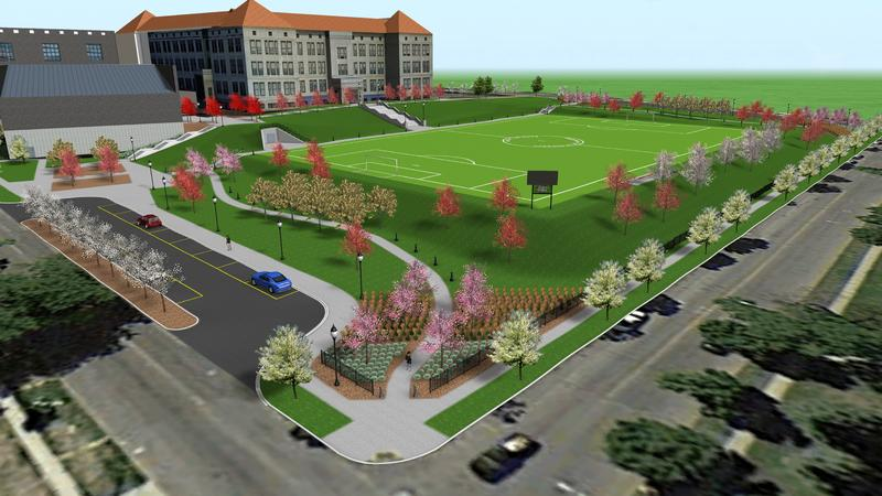 An artist rendering of what the proposed field and community park would look like.