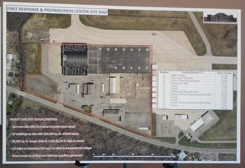 A closer look at the plot of land on the south end of the Air Base perimeter, where a proposed emergency operations hub would be located.