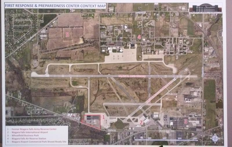 A map of the Niagara Falls Air Base shows where a proposed emergency services center would be located, at the south end of the perimeter along Porter Road.