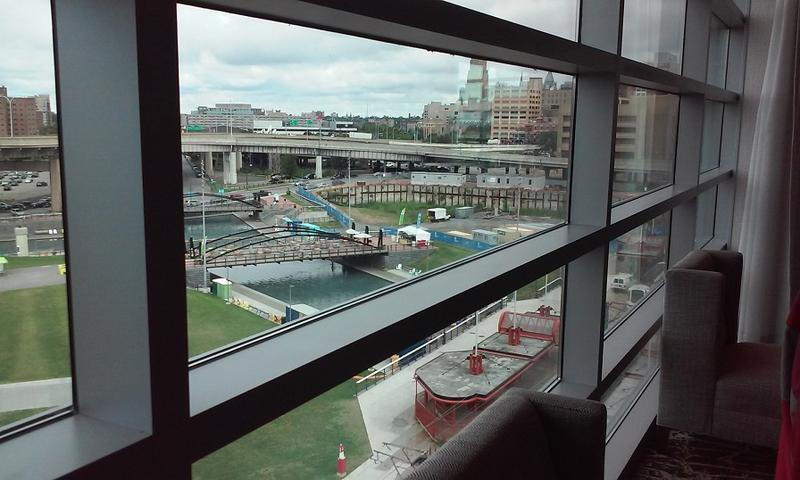 A view of Canalside from the Buffalo Marriott Harborcenter's main lobby and bar area