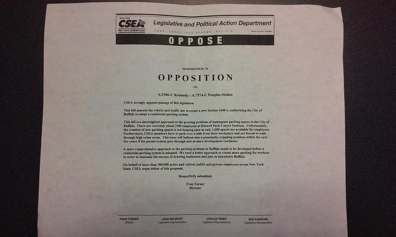 A copy of a memo by the Civil Service Employees Association, shared by activists, shows the union's opposition to proposed legislation in Albany that would allow the implementation of a resident parking permit system in Buffalo's Fruit Belt neighborhood.