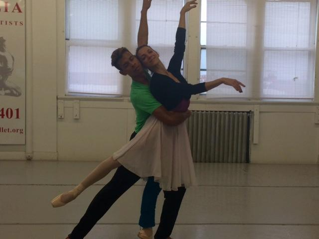 ABT Soloist Luciana Paris & ABT dancer  Jose Sebastian practice in the Neglia studio
