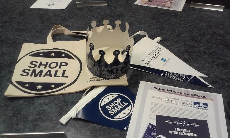 A sample of promotional materials for small business saturday were on display at the buffalo place board meeting on wednesday