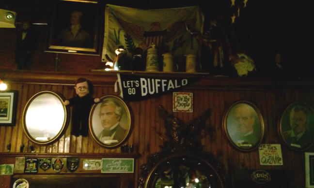 These are just some of the artifacts on the walls. Owner Michael Driscoll pointed out that the relics cover all political parties through the years, including the Whigs, Bull Moose and Know-Nothings.