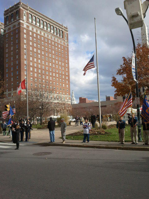 The American Flag was raised over Niagara Square during the ceremonial finale of the City of Buffalo's Veterans Day Parade