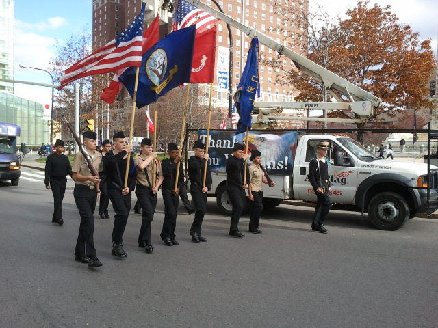 Junior ROTC Cadets from Maritime Charter High School called cadence as they marched in the Veterans Day Parade