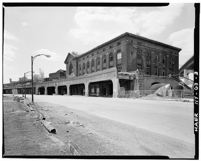 3.View of larger DL&W passenger terminal building looking southeast from beginning of South Park Avenue. Skyway is at extreme right. Train shed is at extreme left.