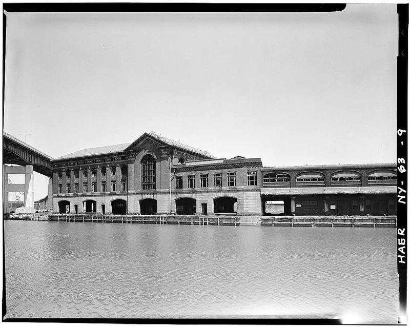 9.View of two DL&W brick passenger structures and western portion of two-story train shed at right of photo from across Buffalo River. Skyway is at extreme left.