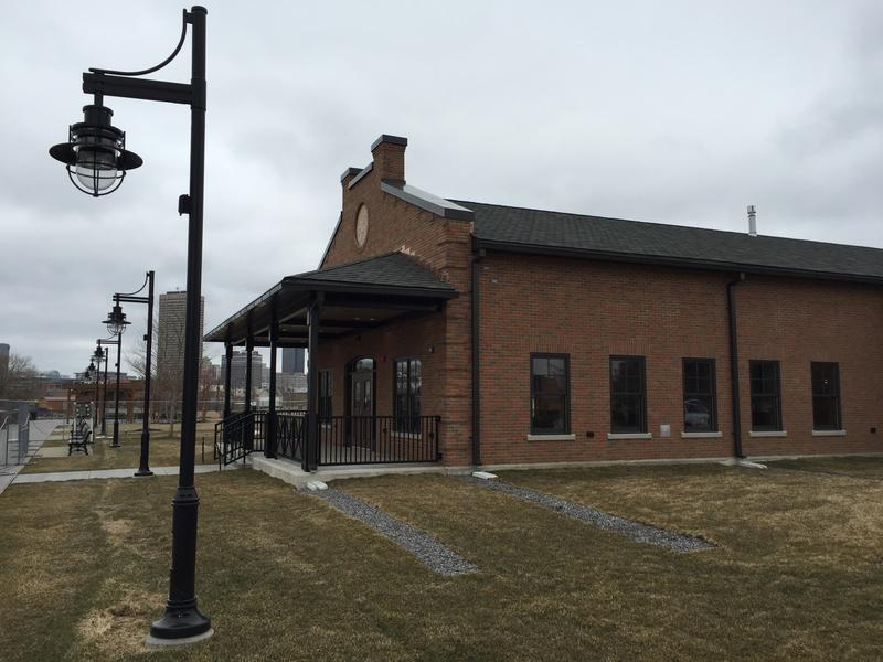 The design of River Fest Park's new lodge draws upon influences from the New York Central rail line, whose freight property used to be housed on the same land.